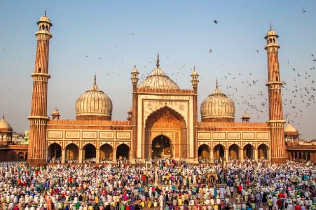 Thousands of Muslims gather to offer Eid-Ul-Fitr (Eid) prayer at Old Delhi Jama Masjid, India