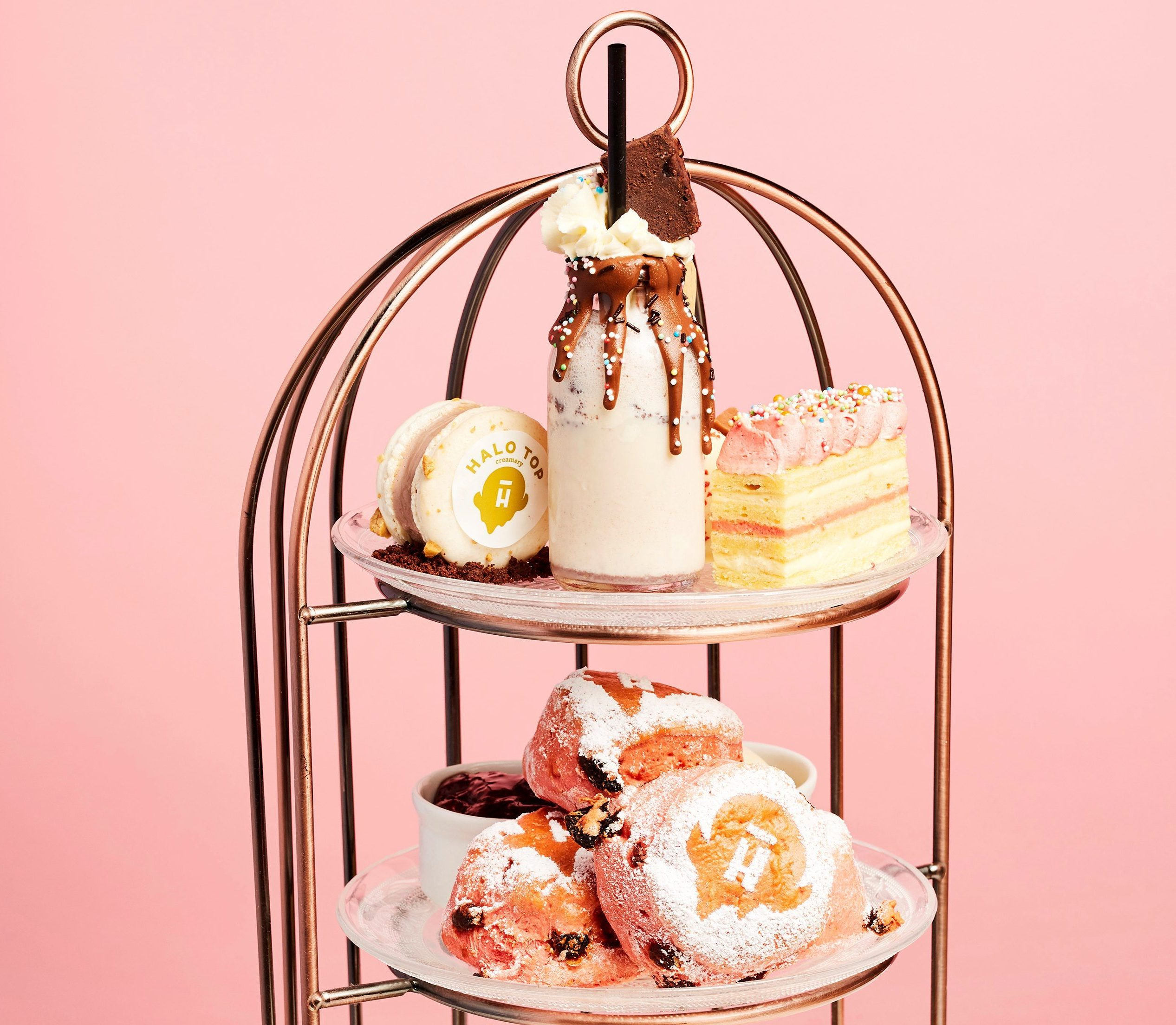 The afternoon tea goodies including a Freak Shake, macaron and more