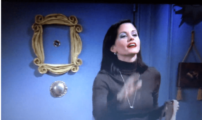Monica makes a 'quantum leap' across the room in this Friends scene blunder