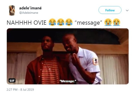 Ovie message reaction