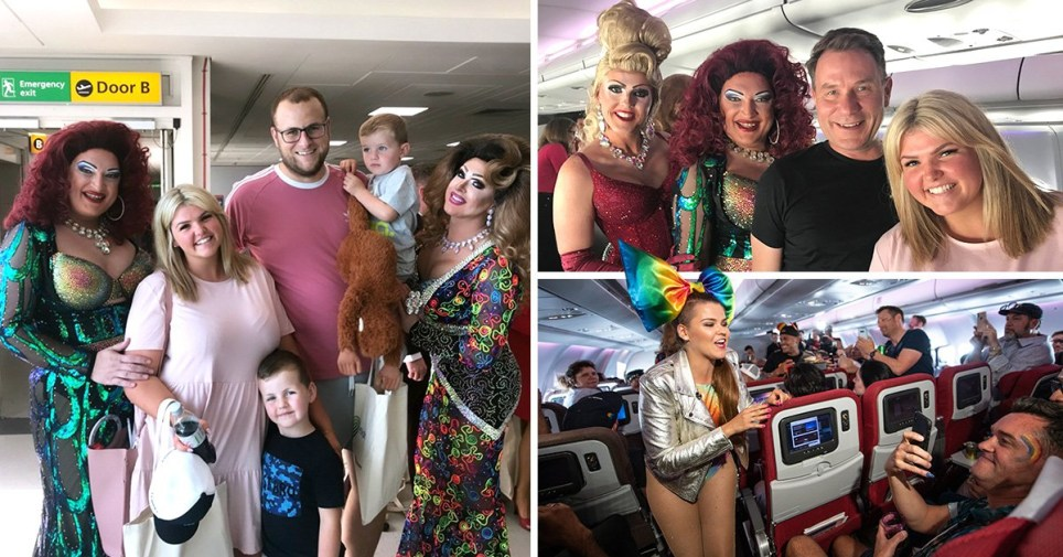 Kelly Powell and her family found themselves on Virgin Atlantic's Pride Flight on Friday for World Pride in New York.