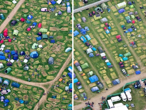 Glastonbury from the sky as clear-up mission gets underway