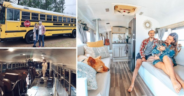 Couple in their new home, a former school bus