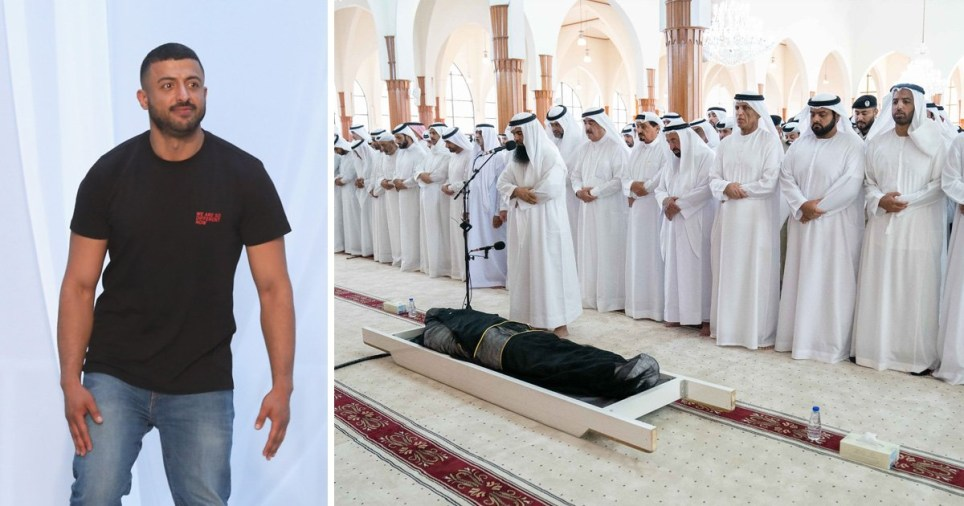 Emir of Sharjah stands over Khalid Al Qasimi's body at funeral