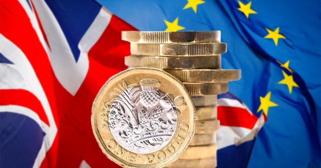 Pound coins with an EU and union jack flag