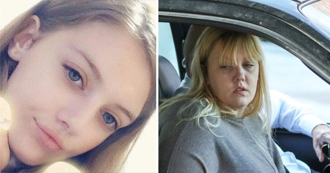 Picture of murdered schoolgirl Lucy McHugh next to a picture of her mum Stacey White arriving at Winchester Crown Court
