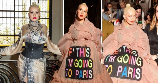 Christina Aguilera F this I'm going to paris dress