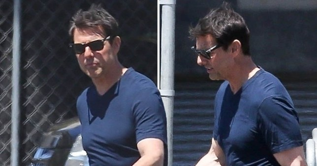 Tom Cruise is seen on the set of Top Gun 2 movie looking ...