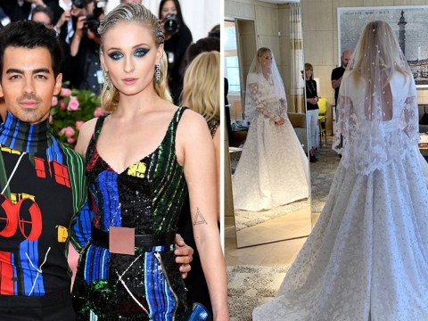 Sophie Turner is a lace goddess in stunning Louis Vuitton wedding dress for Joe Jonas wedding