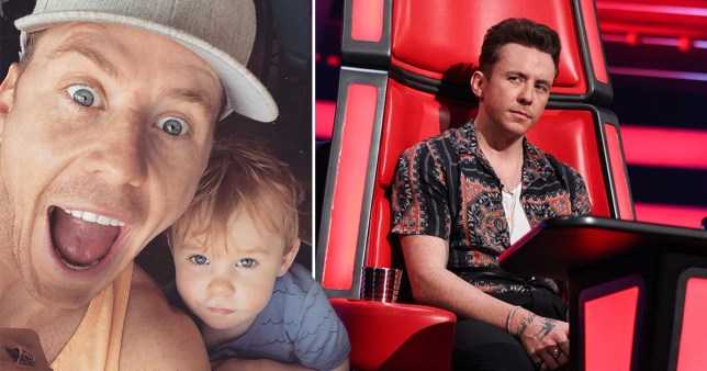 Danny Jones with son Cooper and on The Voice Kids