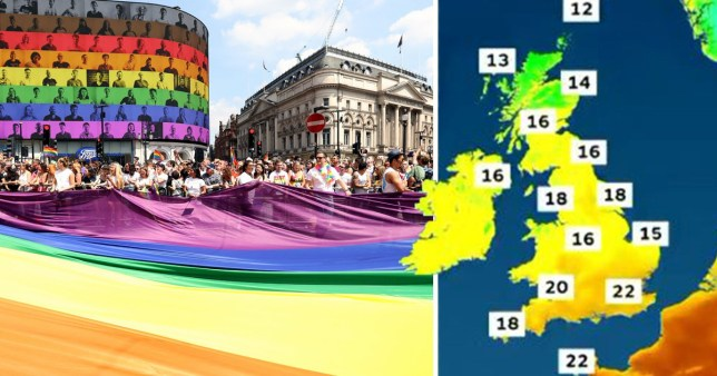 Rainbow flags flying high over Piccadilly Circus at last year's Pride In London event. (Picture: Tristan Fewings/Getty Images)