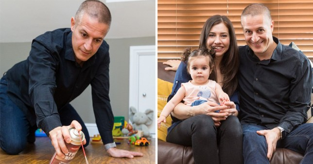 Paul Lanzarotti, 45, demonstrating his Stop Creak spray invention (left) next to picture of Paul, partner Tracy McCreary, 37 and their baby daughter Sienna
