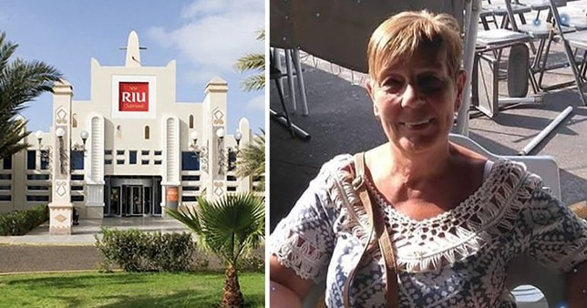 Picture of Riu Palace Hotel in Cape Verde next to picture of Norma Surtees, 61, who was found dead in the pool
