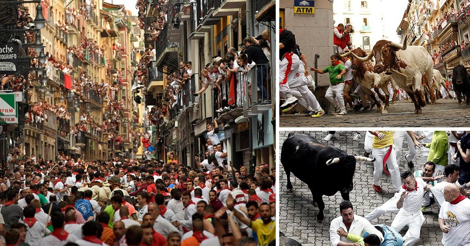 Three pictures from the 2019 Running of the Bulls festival in Pamplona, northern Spain