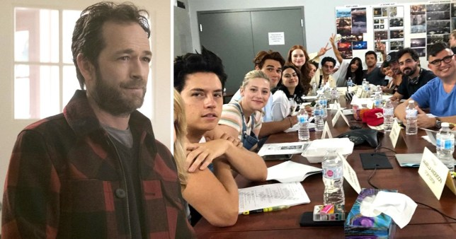 Comp of Luke Perry and the cast of Riverdale at a season four table read