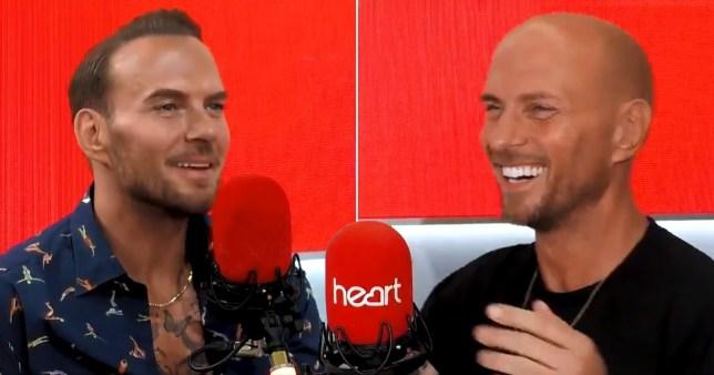 Matt and Luke Goss from Bros in Heart radio studio