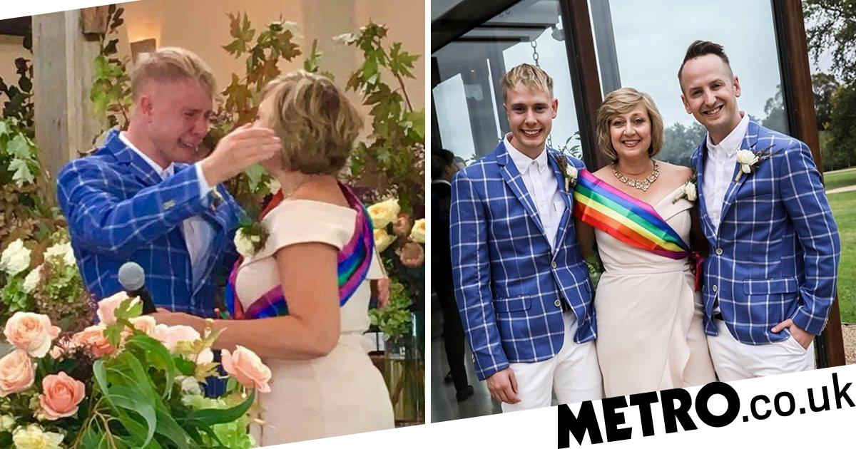 Christian mum walks gay son down the aisle while wearing a rainbow sash
