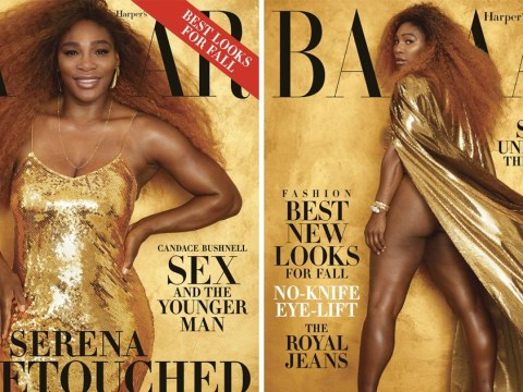 Serena Williams is an absolute goddess in gold as she bares all in nude shoot