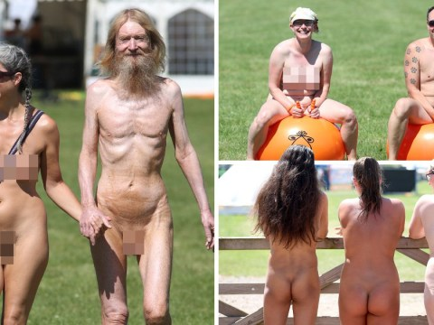 Naturists kick off week-long Nudefest by stripping off in the sun