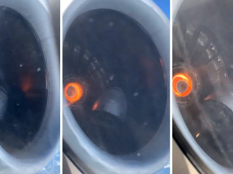 Man looks out aircraft window mid-flight and films the engine falling apart