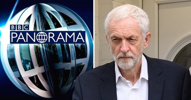 Jeremy Corbyn on top of BBC Panorama logo