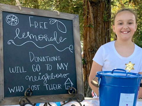 Nine-year-old opens lemonade stand to raise funds for neighbours' house destroyed in fire