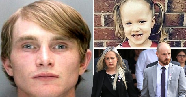 Aidan McAteer, left, in a mugshot, Violent-Grace top right before she was killed in a hit and run, her parents leaving court bottom right