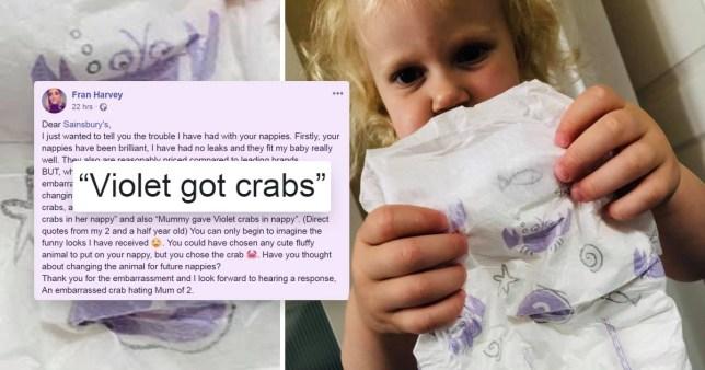 Mum Fran Harvey shares embarrassing problem with Sainsbury's crab print nappies