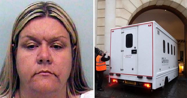 'Britain's worst female paedophile Vanessa George (left) next to picture of prison van