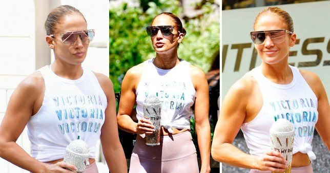 Jennifer Lopez looking muscly in New York.