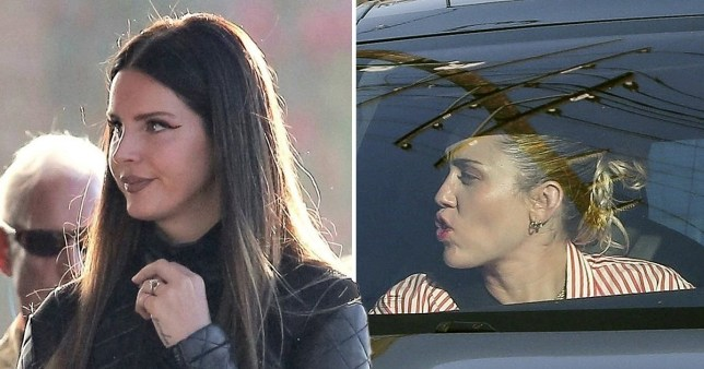 Lana Del Rey becomes a Charlie's Angels as she joins Miley Cyrus and Ariana Grande on music video shoot