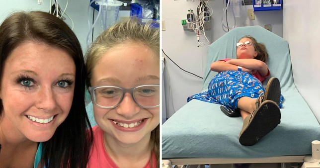 Alicia and Gracie, and Gracie in hospital after collapsing due to hair-grooming syncope