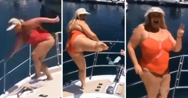Gemma Collins nearly falls off boat in epic #BottleCapChallenge attempt