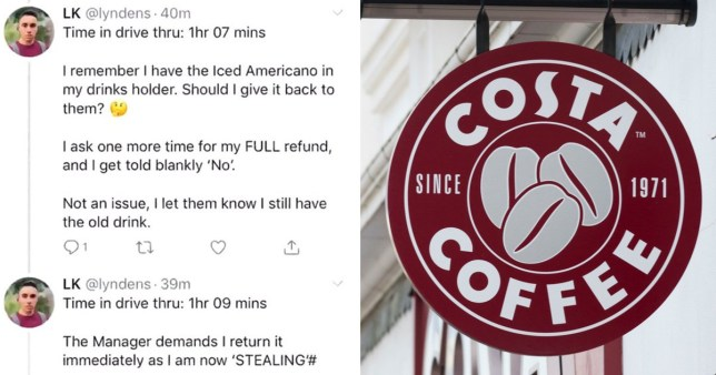 A Twitter user has been criticised for his thread about waiting for a Costa Coffee