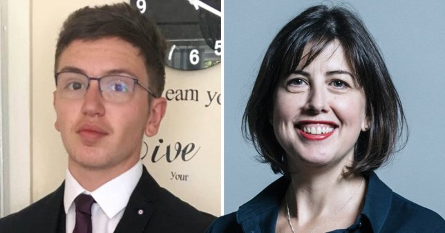 Murdered Manchester schoolboy Yousef Makki, 17, (left) next to picture of Manchester Central Labour MP Lucy Powell