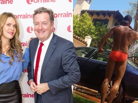 Piers Morgan trolled by wife Celia Walden as she enjoys Speedo-clad car washer