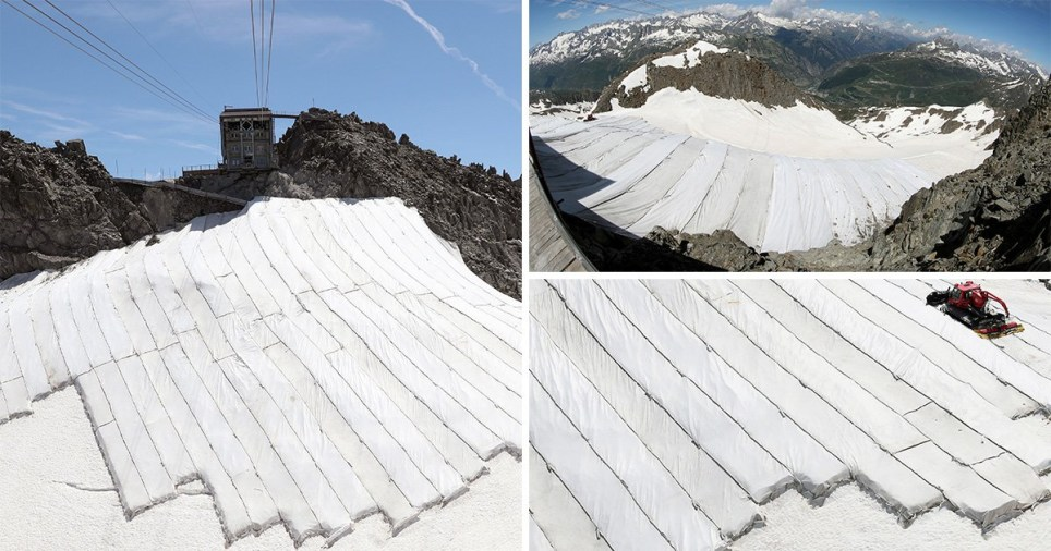 Tarpaulins have been put onto a Swiss glacier to try and stop it melting
