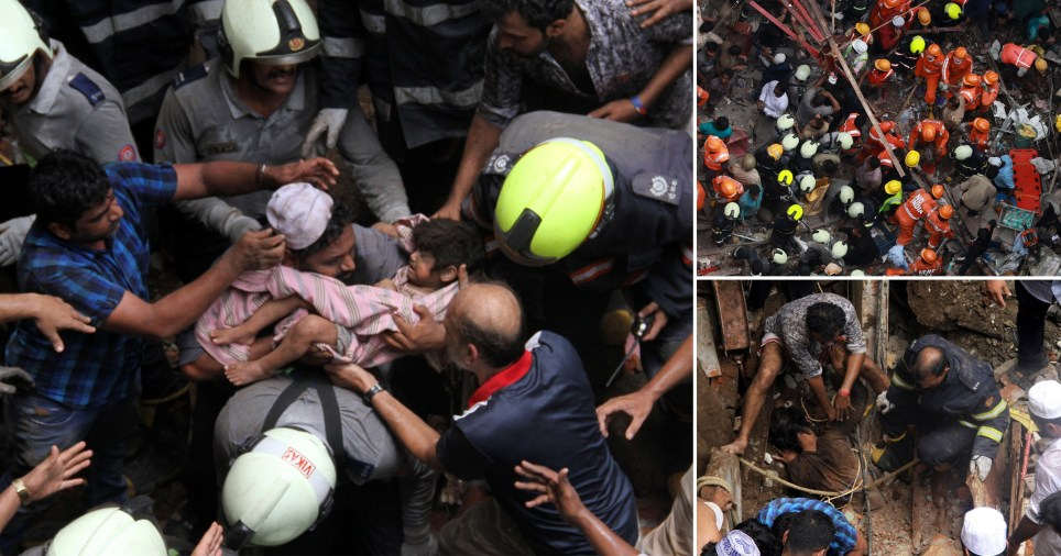 Child pulled out of rubble of collapsed Indian building
