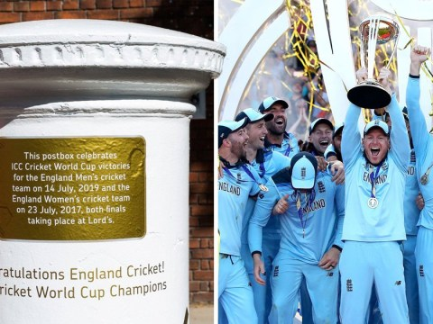 England Cricket World Cup win celebrated with golden postbox at Lord's