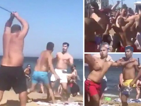 Huge fight breaks out between Brits on Barcelona beach