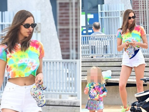 Irina Shayk adorably matches tie dye tops with daughter, 2, as Bradley Cooper dines with Anna Wintour