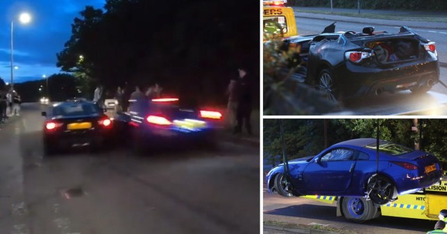 The cars colliding and two pictures of the damaged vehicles (Picture: UKNIP)