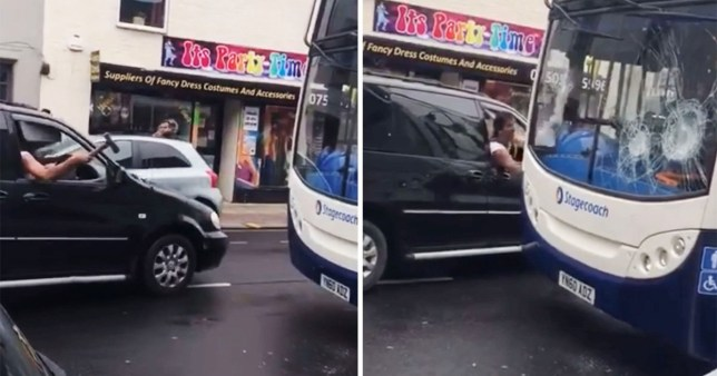 The man was caught on camera smashing up a nearby bus  in sheffield