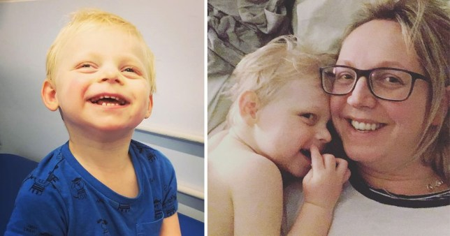 William laughing, and William with his mum Emma. William has Angelman syndrome