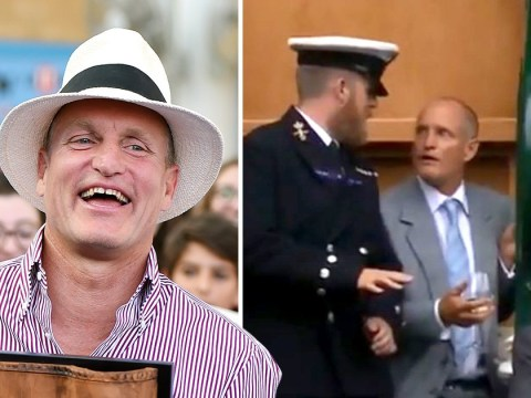 Woody Harrelson looks chipper as he emerges following embarrassing Wimbledon rejection