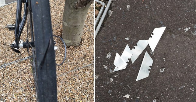 A cyclist has narrowly avoided being seriously injured after razor blades were planted on a popular cycle route