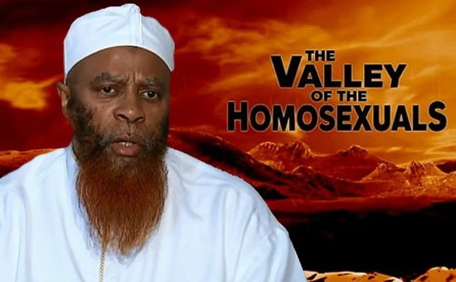 Imam Qasim Khan in front of backround of 'The Valley of the Homosexuals' programme on Islamic TV station Peace TV which is facing being banned in the UK by Ofcom