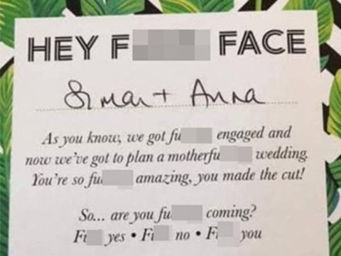 Couple slammed for 'trashy' wedding invitations that include excessive swearing