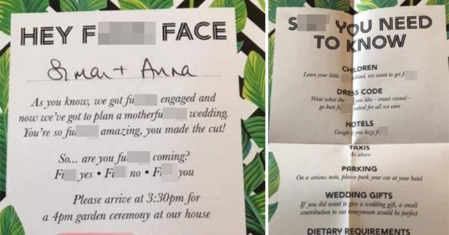 Couple slammed for 'trashy' wedding invitations and