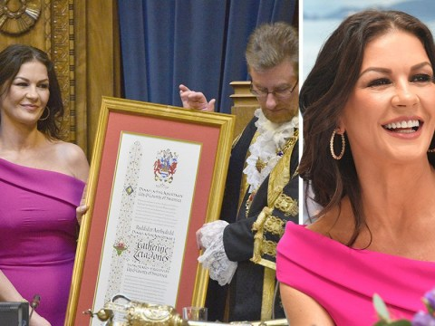 Catherine Zeta Jones over the moon in hometown as she's honoured with Swansea freedom